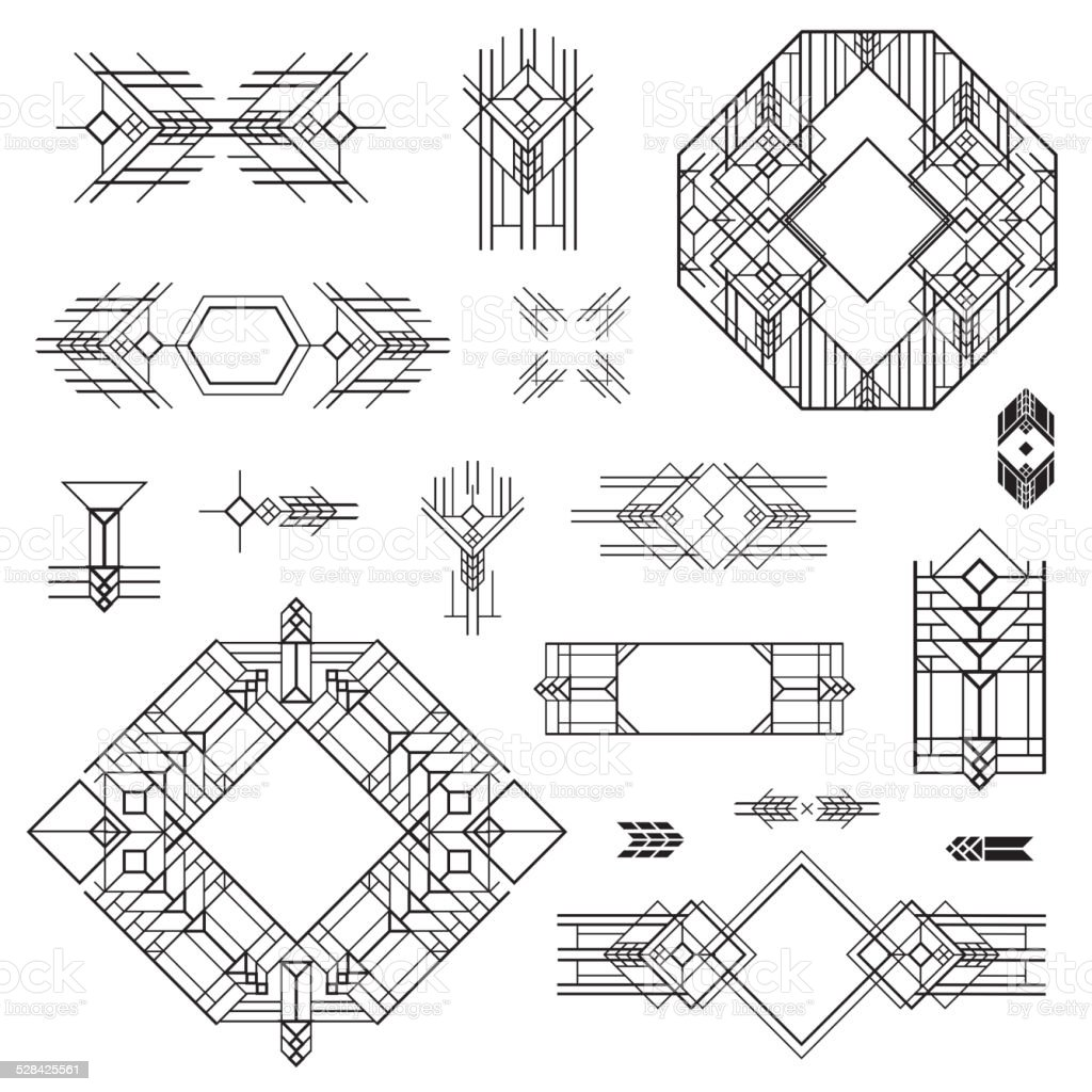 Art Deco Line Design : Art deco vintage frames and design elements stock vector