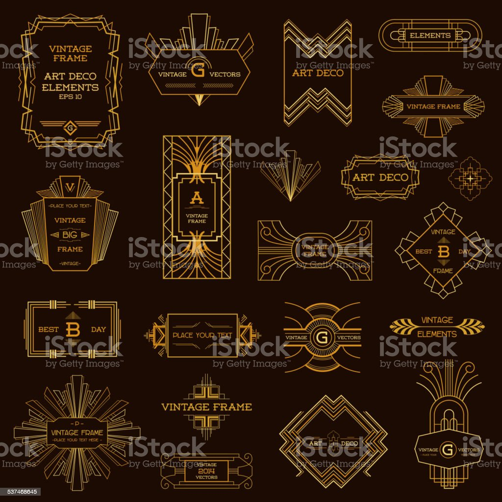 Art deco vintage frames and design elements stock vector - Art deco design elements ...
