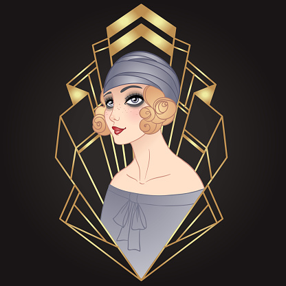 Art Deco vintage illustration of flapper girl. Retro party character in 1920s style. Vector design for glamour event or jazz party.