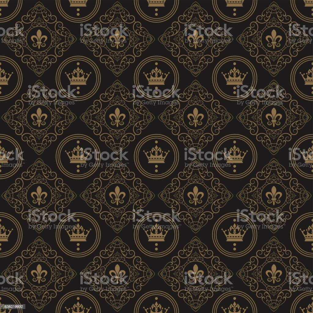 裝飾藝術壁紙無縫模式復古風格深顏色向量圖 - 免版稅俄羅斯圖庫向量圖形