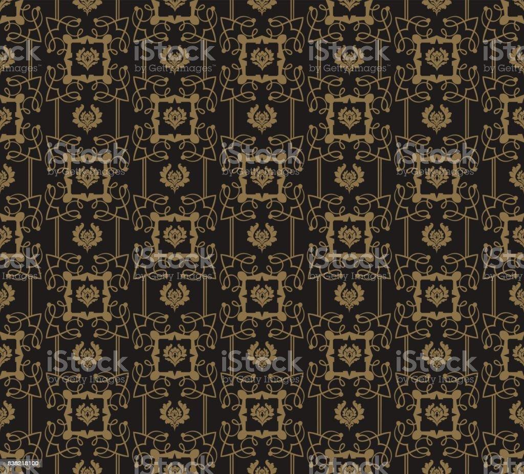 Art Deco Wallpaper Seamless Pattern Vintage Style Dark Color Vector Illustration Stock Illustration Download Image Now