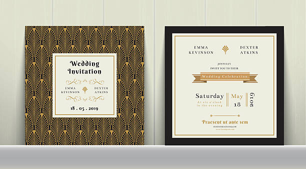 art deco wedding invitation card in gold and black colour - 1920s style stock illustrations, clip art, cartoons, & icons