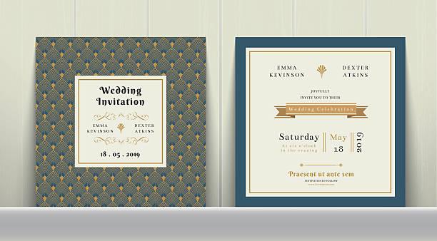 Art Deco Wedding Invitation Card in Gold and Blue vector art illustration