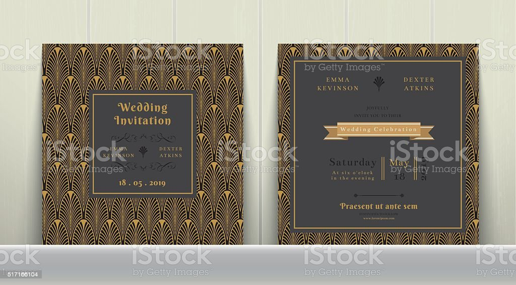 Art Deco Wedding Invitation Card  in Gold and Dark Gray vector art illustration