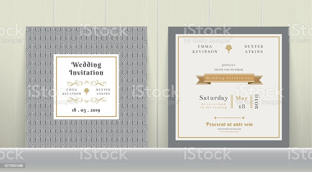 Art Deco Wedding Invitation Card in Gold and Gray vector art illustration