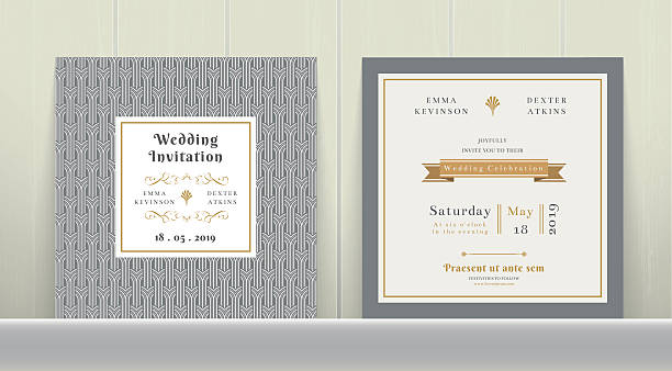 Art Deco Wedding Invitation Card in Gold and Gray vector art illustration