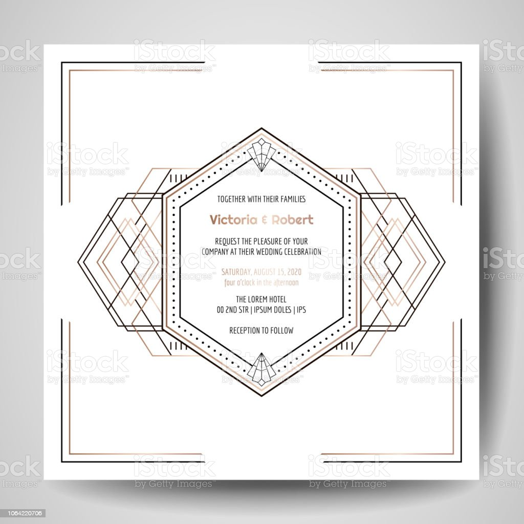 Art Deco Wedding Invitation Luxury Save The Date Card With Gold