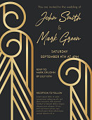 Art deco style Wedding Invite with copy space. Black and gold design.