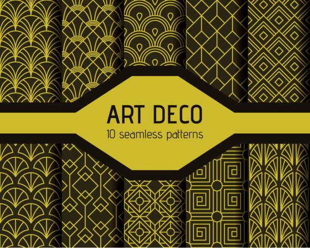 art decto seamless patterns vector art illustration