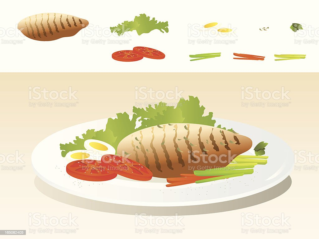 Art depiction of a plate with grilled chicken and veggies  royalty-free stock vector art
