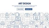 Art Design Banner Design. Vector Illustration of Outline Template.