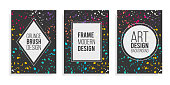 istock Art design black business background with modern colorful splash paint drawing grunge brush banner.Design template flyer, card,social media cover, brochures, vector frame graphics dynamic for hipsters 1302622527