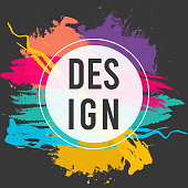 istock Art design black business background with modern colorful splash paint drawing grunge brush banner.Design template flyer, card,social media cover, brochures, vector frame graphics dynamic for hipsters 1302657082