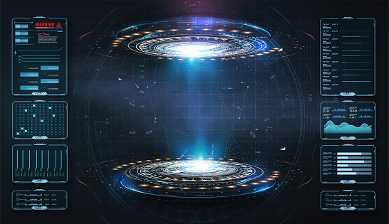 Art design hologram, portals, teleport template. Abstract concept modern technology portal, round tunnels. Magic circle teleport podium. GUI, UI virtual reality projector. Two luminous blue rings.