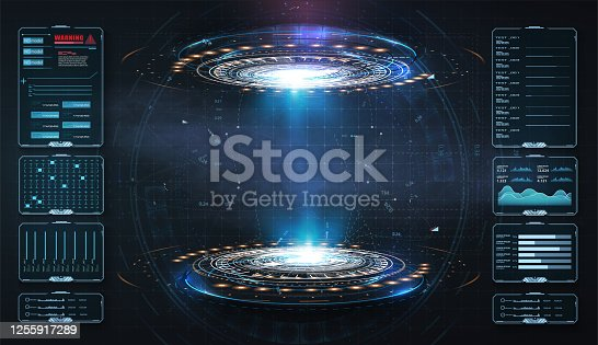 istock Art design hologram, portals, teleport template. Abstract concept modern technology portal, round tunnels. Magic circle teleport podium. GUI, UI virtual reality projector. Two luminous blue rings. 1255917289
