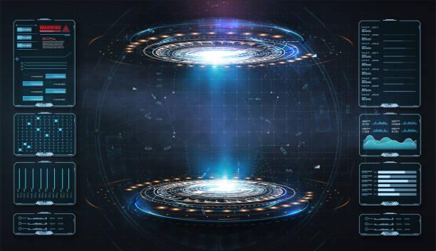 hologram projektu sztuki, portale, szablon teleportu. abstrakcyjna koncepcja nowoczesnego portalu technologicznego, okrągłe tunele. magiczne koło teleportować podium. gui, projektor rzeczywistości wirtualnej interfejsu użytkownika. dwa świecące nie - futurystyczny stock illustrations