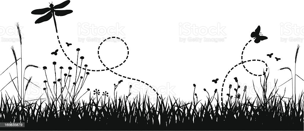 Art design of meadow with butterflies royalty-free stock vector art
