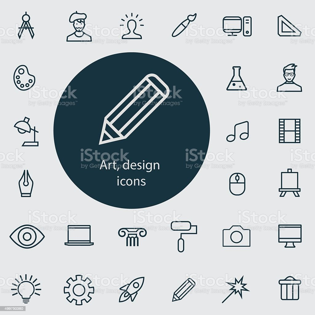 art, design outline, thin, flat, digital icon set vector art illustration