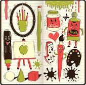 art doodles in sketchbook,