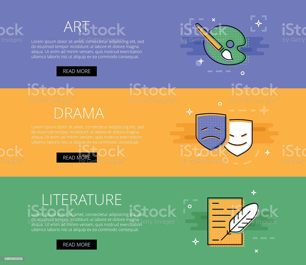 Art. Drama. Literature. Vector banners template set vector art illustration