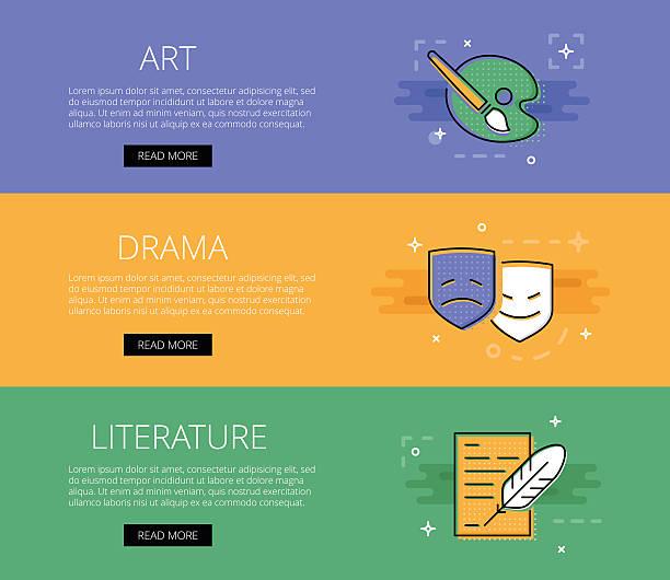 Art. Drama. Literature. Vector banners template set - Illustration vectorielle