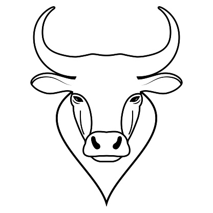Art drawing buffalo cow ox bull head logo design. Simple linear figure of animals face, symbol of 2021. Black and white isolated sign.