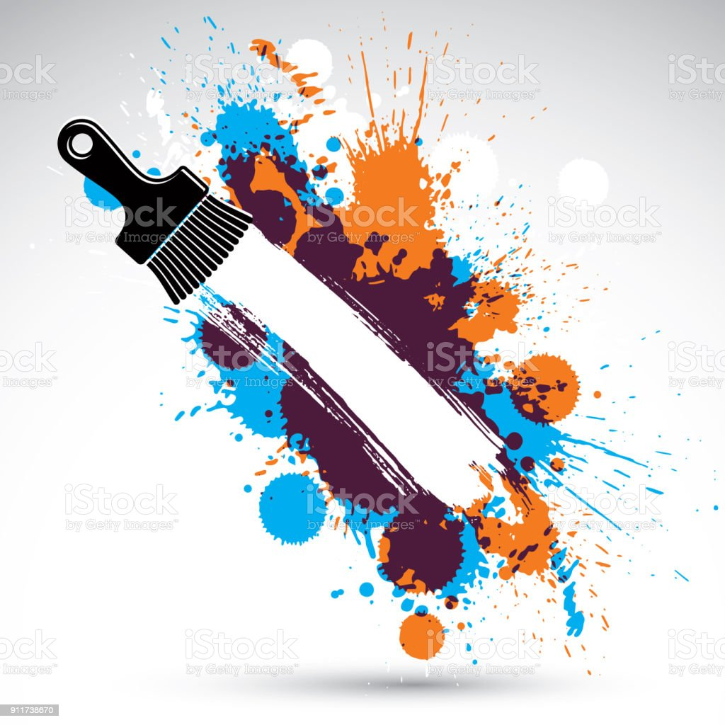 描いた作品ファンキーなベクトル図が水しぶきと真っ黒なスポットを作成します装飾的なカラフルな壁紙ペイント ブラシで描画はウェブサイトの背景として使用できますここにあなたのテキストを書くことができます いたずら書きのベクターアート素材や画像を多数ご用意