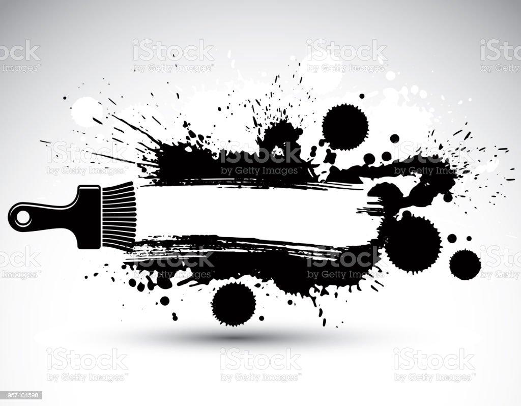 描いた作品ファンキーなベクトル図が水しぶきと真っ黒なスポットを作成します筆で描かれた装飾的な黒い壁紙はweb サイトの背景として使用できますここにあなたのテキストを書くことができます いたずら書きのベクターアート素材や画像を多数ご用意 Istock