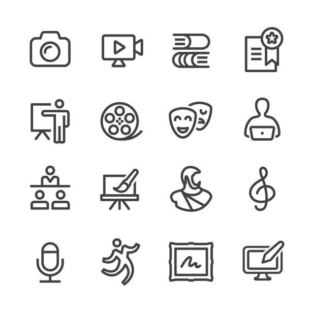 illustrations, cliparts, dessins animés et icônes de art education icons - série en ligne - camera sculpture