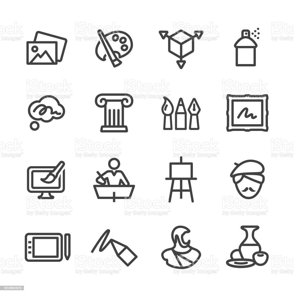 Art Education Icons - Line Series vector art illustration