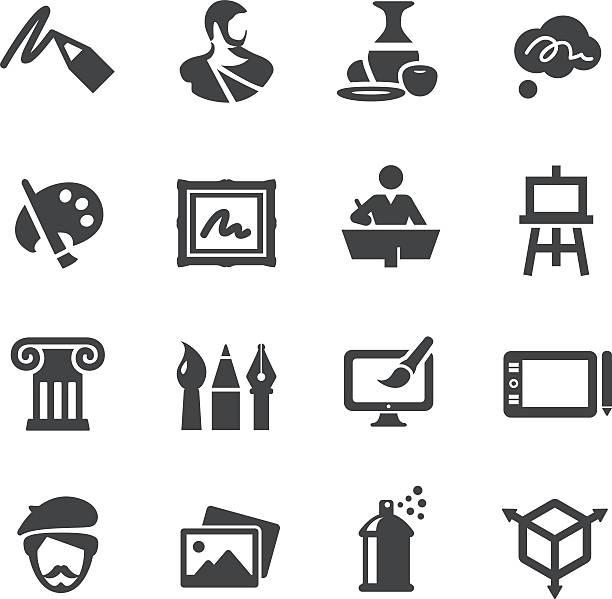 illustrations, cliparts, dessins animés et icônes de art de l'éducation icônes set-série acme - art