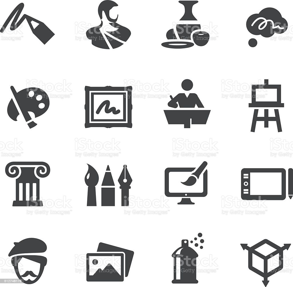 Art Education Icons Set - Acme Series vector art illustration