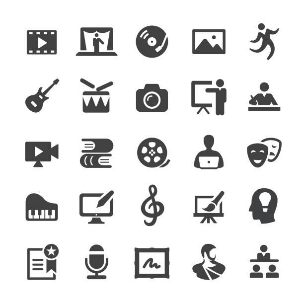 illustrations, cliparts, dessins animés et icônes de icônes de l'éducation artistique - série intelligente - camera sculpture