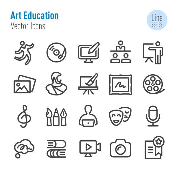 illustrations, cliparts, dessins animés et icônes de graphismes de l'éducation artistique-série vector line - camera sculpture