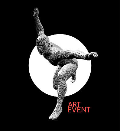 Art event invitation template. Night party. Dancer in the moonlight. Voxel art. 3D vector illustration for banner, flyer, poster, cover or brochure.