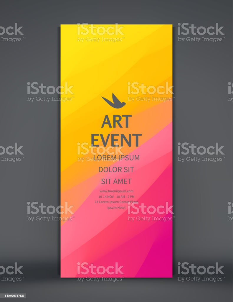 Art event invitation template. Vertical banner or stand for...