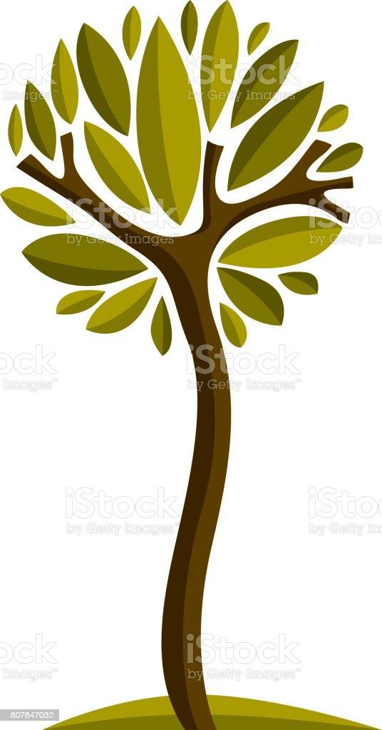 Ilustración de hadas arte del árbol, símbolo estilizado de la eco. Información vector de la imagen en la idea de temporada, planta hermosa. - ilustración de arte vectorial
