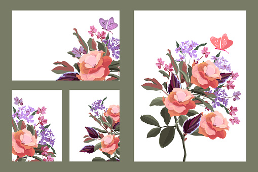 Art floral greeting and business cards. Vector cards with flowers, twigs, leaves, butterflies.