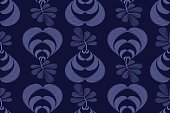 Art floral vector seamless pattern. Blue fluted leaves on twigs isolated on a dark blue background. Jacquard style. Flowers in vases for wallpaper design, fabric, textile, digital paper.