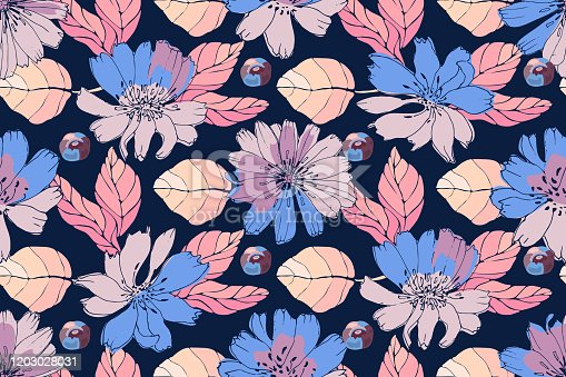istock Art floral vector seamless pattern. Blue, pink flowers with leaves. 1203028031