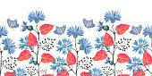 istock Art floral vector seamless pattern, border. Blue flowering cornflower, Centaurea flowers 1312062416