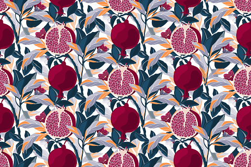 Art floral vector seamless pattern. Pomegranate tree with maroon fruits, blue, violet, orange leaves.