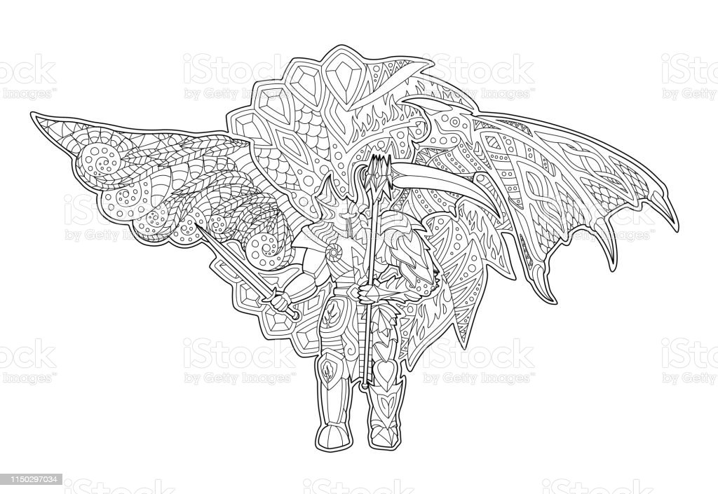 Vetores De Arte Para O Livro De Coloracao Com Anjo Caido Desenhos