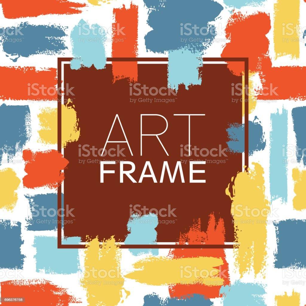 アート フレーム スクエア。青黄赤のカラー要素。ポスターの背景にブラシ ストローク。モダンなデザイン。手作りのスポットやストライプ。ビンテージ テクスチャ汚れ。創造的なファッションのカード ベクターアートイラスト