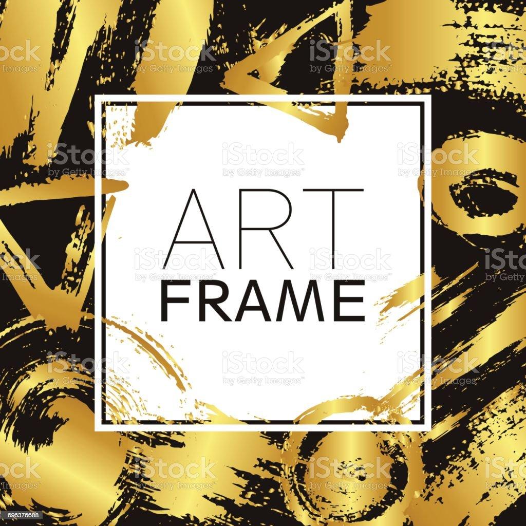 Kunst Rahmen Platz Gold Gradient Elemente Pinselstriche Für Den ...