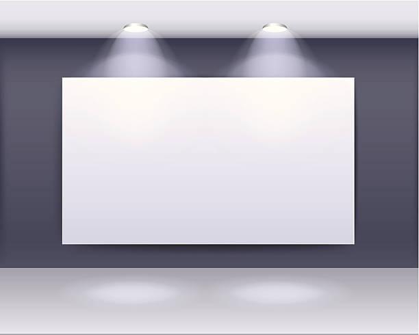 kunst galerie-rahmenkonstruktion mit deckenspots - lampenshop stock-grafiken, -clipart, -cartoons und -symbole