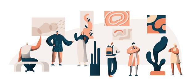 galeria sztuki muzeum wystawa grupa zwiedzająca. people character w: famous painting artwork excursion. obraz ramki na ścianie ekspozycja concept dla plakatu flat cartoon vector ilustracja - dzieło artystyczne stock illustrations