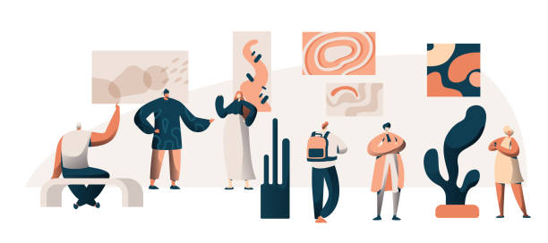アート ギャラリー美術館展覧会訪問者グループ。有名な絵画作品遠足で人々 の文字。フラット漫画ベクトル イラスト ポスター壁博覧会論フレーム画像 - 美術館点のイラスト素材/クリップアート素材/マンガ素材/アイコン素材