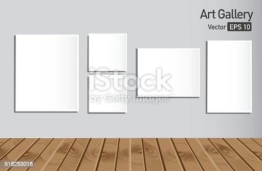istock Art gallery or museum walls with blank canvas 518253018