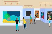 Art gallery. People regarding creative artworks or exhibits in museum. Vector illustration. Eps 10.